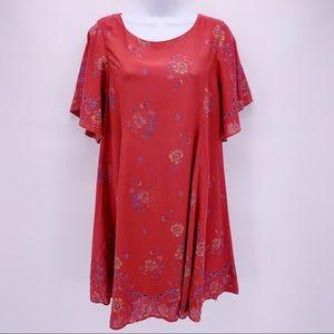 Kimchi Blue Red Boho Floral Open Back Dress Sz M